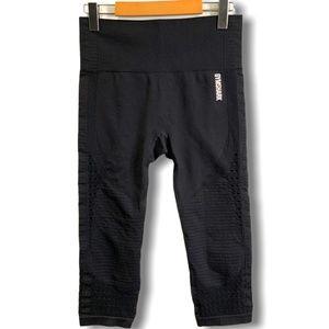GYMSHARK Black Cropped High Rise Leggings Sz M